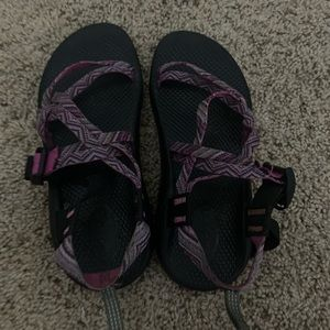 purple/pink chacos